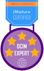 A medal designed with stars and text - Certified DCIM Expert