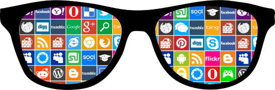 Glasses with web icons - A symbolic image for Digital Citizenship & Internet Maturity experts
