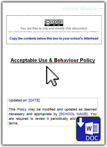 A free to download Acceptable Use & Behaviour Policy created by iMature.in for schools